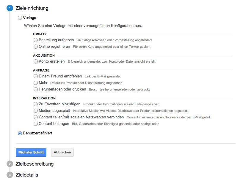 Der erste Schritt für die Einrichtung der Ziele in der Google Analytics Verwaltung