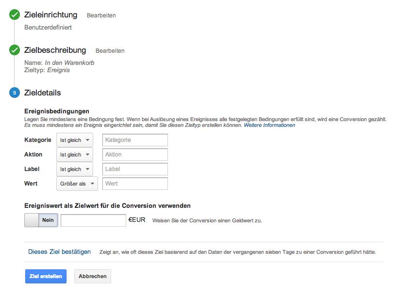 Der letzte Schritt für die Einrichtung eines Ziels in Google Analytics