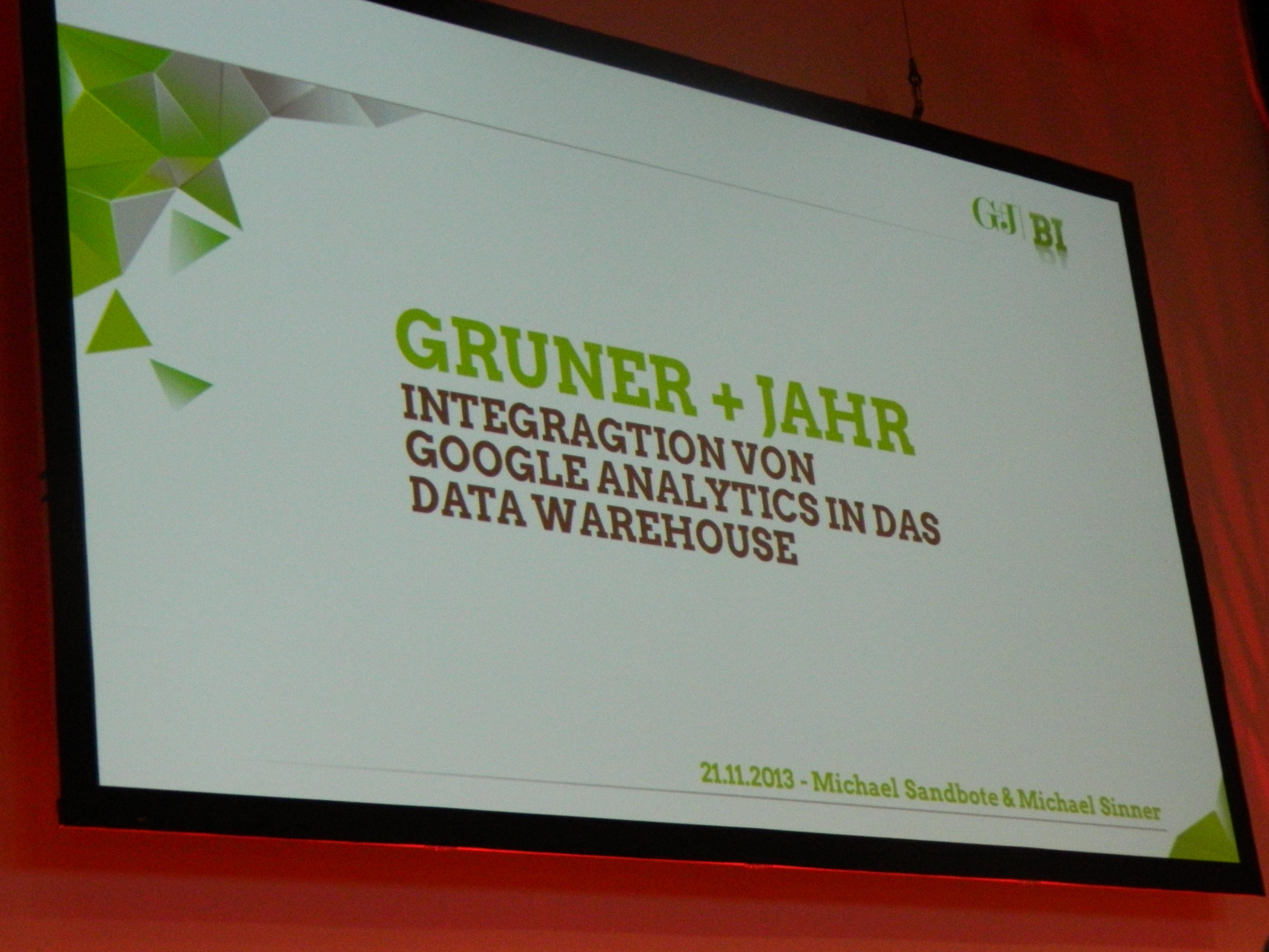 Die Cover Folie des Votrages über das Gruner und Jahr Data Warehouse von Michael Sandbote und Michael Sinner