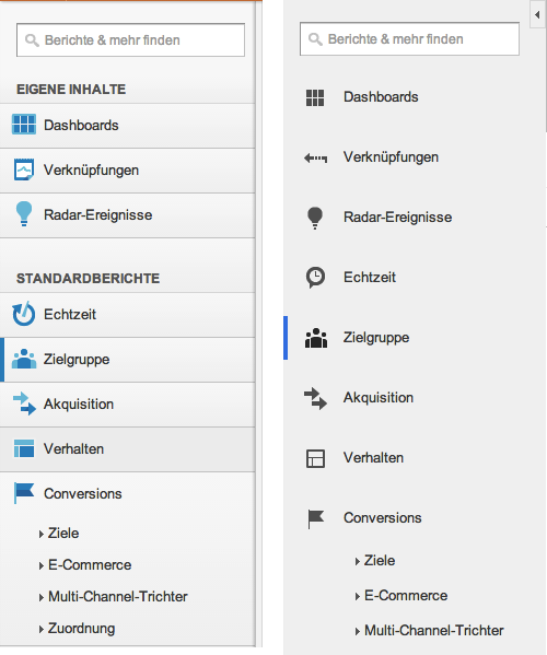 Die alte und neue linke Navigation von Google Analytics im Vergleich