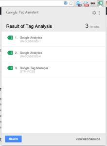 Google Tag Assistant Menü