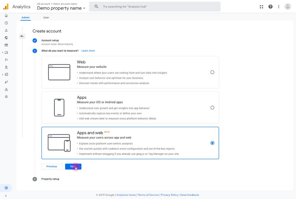 Neue Google Analytics Property Web und App