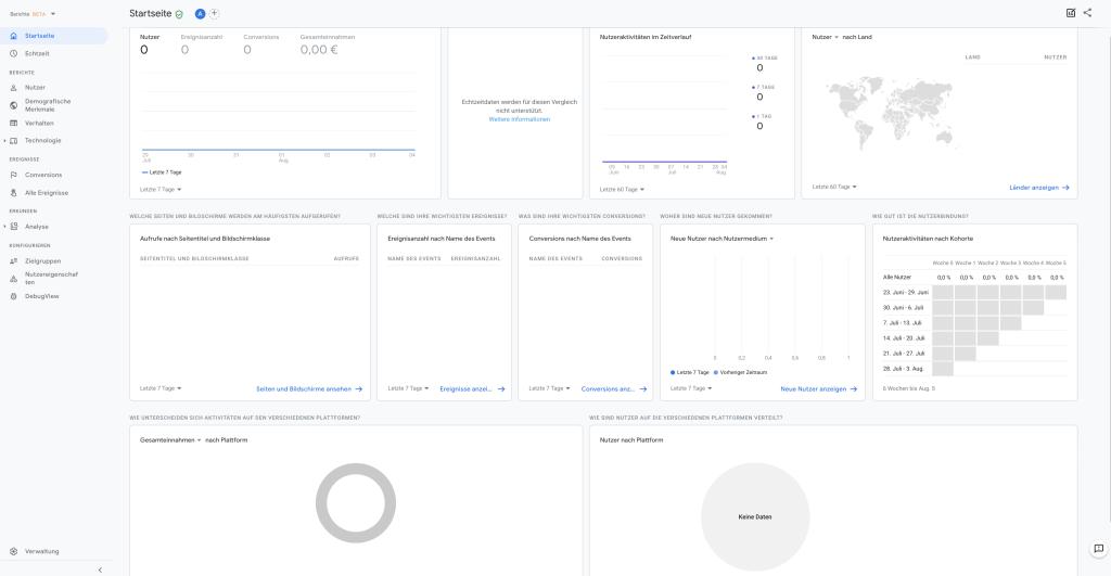 Die neue Google Analytics Startseite