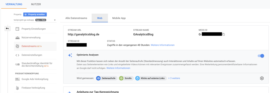 Die neue Google Mess ID in Google Analytics