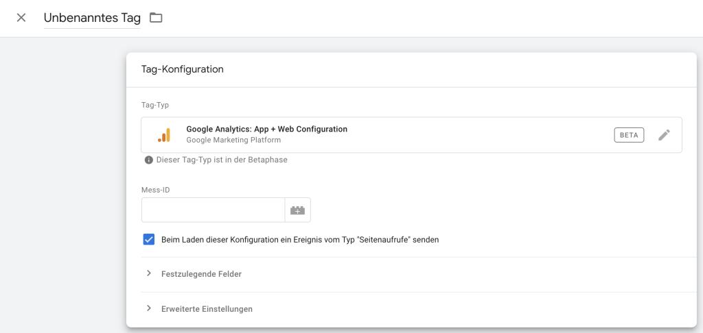 Einrichtung der Google Mess ID