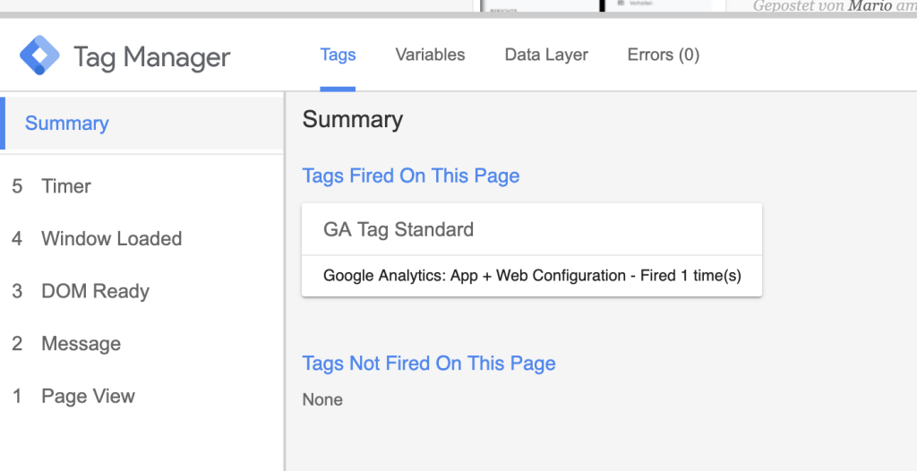 Google Tag Manager Preview Mode mit dem neuen Tag