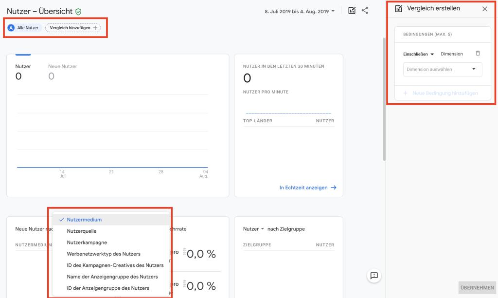 Nutzer Report in Google Analytics